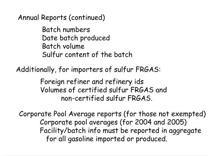 Annual Reports (continued)