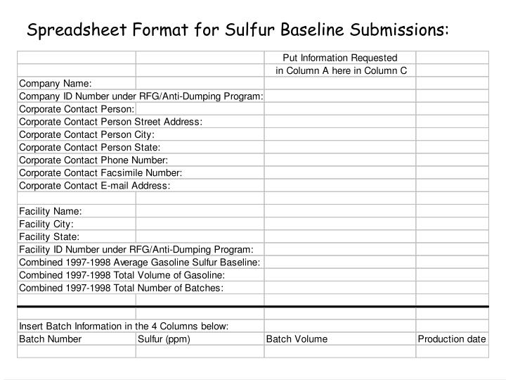 Spreadsheet Format for Sulfur Baseline Submissions:
