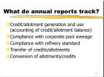 what do annual reports track