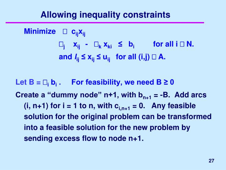 Allowing inequality constraints