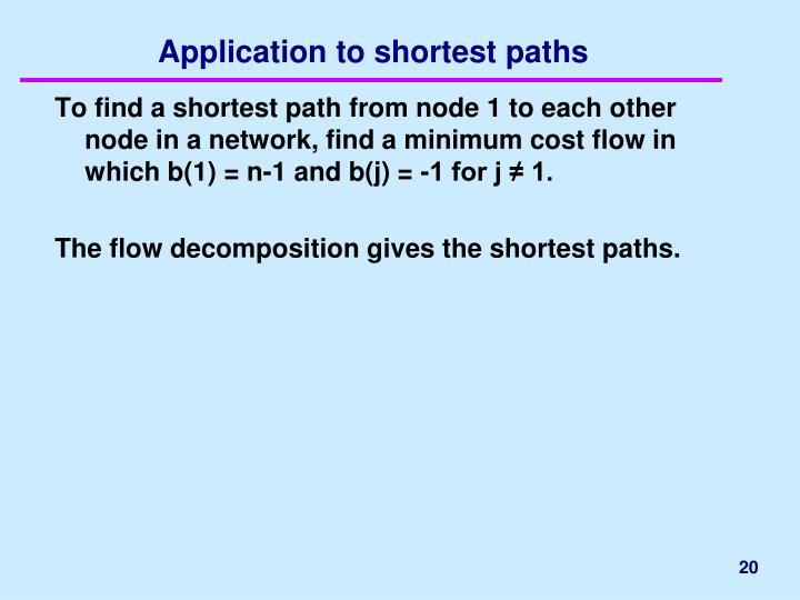 Application to shortest paths