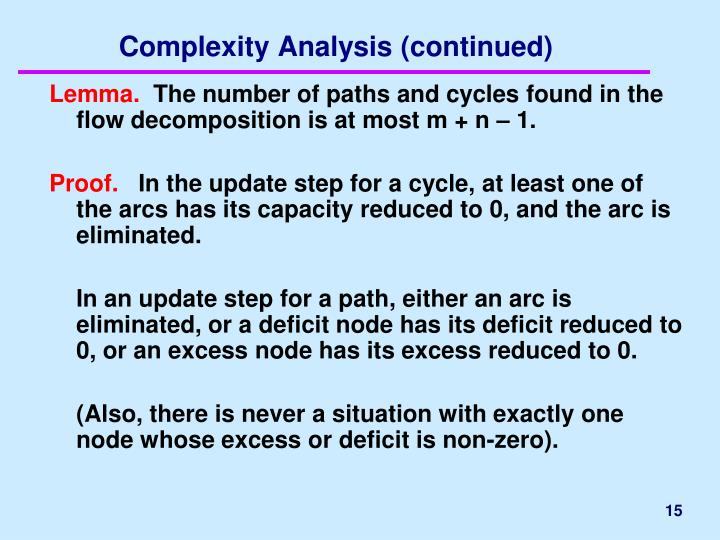Complexity Analysis (continued)