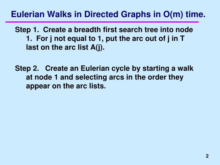 Eulerian walks in directed graphs in o m time