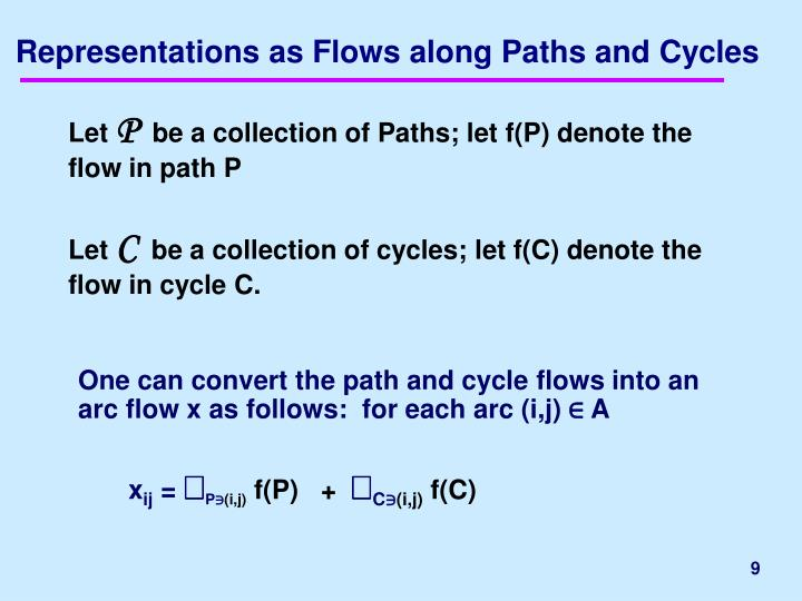 Representations as Flows along Paths and Cycles