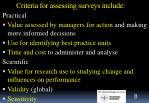 criteria for assessing surveys include