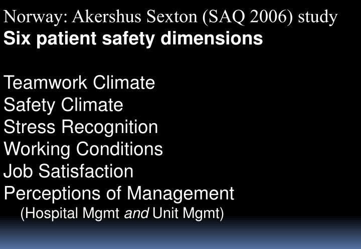 Norway: Akershus Sexton (SAQ 2006) study