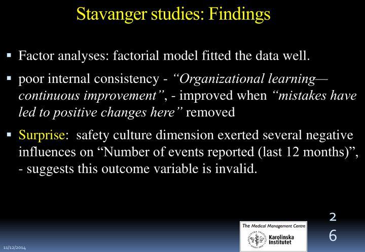 Stavanger studies: Findings