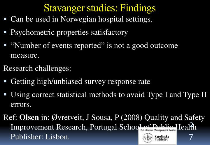 Stavanger studies: Findings