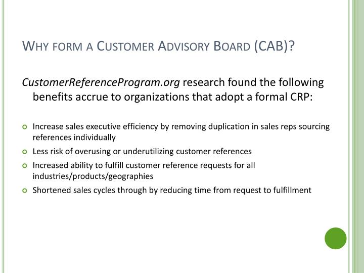 Why form a customer advisory board cab