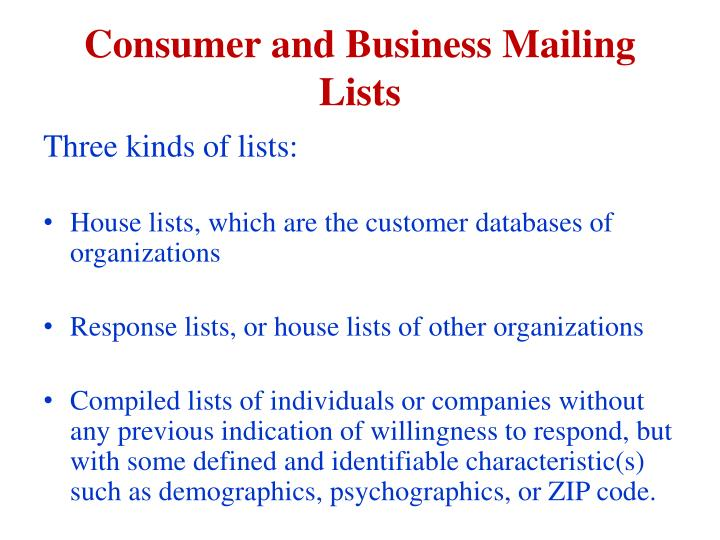 Consumer and business mailing lists