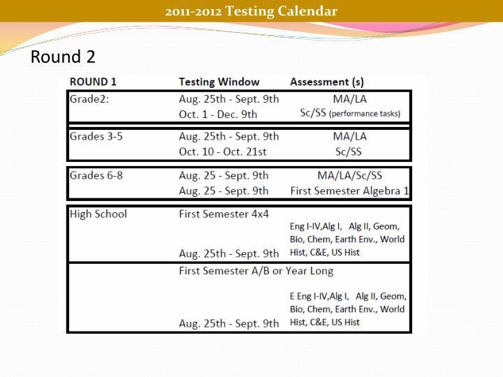 2011-2012 Testing Calendar