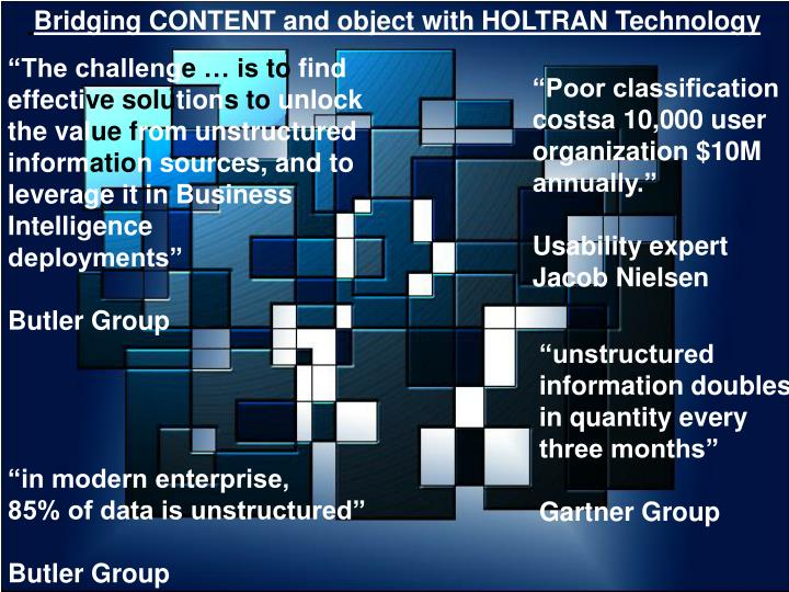 Bridging CONTENT and object with HOLTRAN Technology