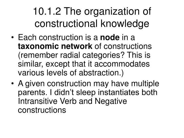 10.1.2 The organization of constructional knowledge