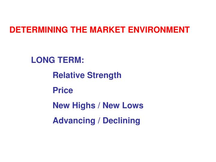 DETERMINING THE MARKET ENVIRONMENT