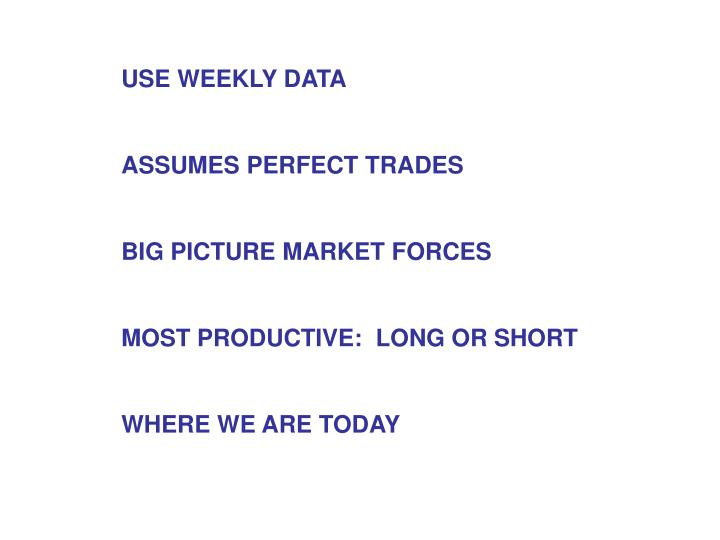 USE WEEKLY DATA