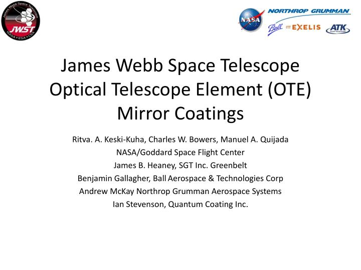 James webb space telescope optical telescope element ote mirror coatings