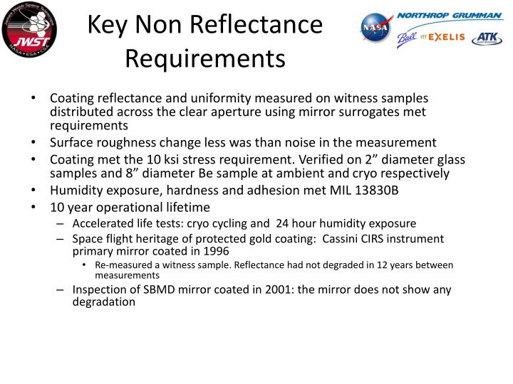Key Non Reflectance Requirements
