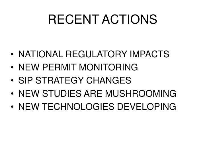 RECENT ACTIONS