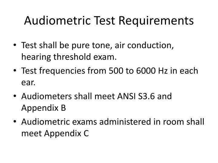Audiometric Test Requirements
