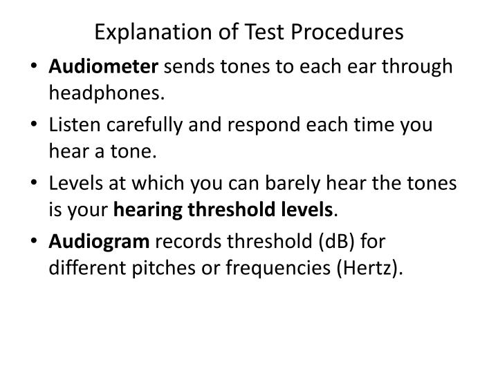 Explanation of Test Procedures