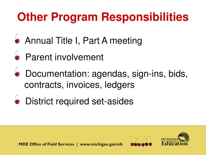 Other Program Responsibilities