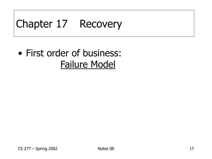 Chapter 17Recovery