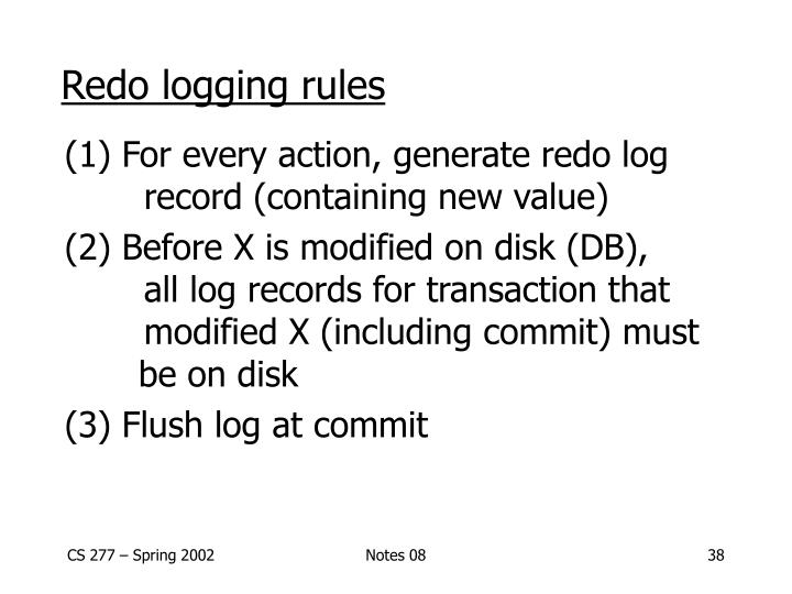 Redo logging rules