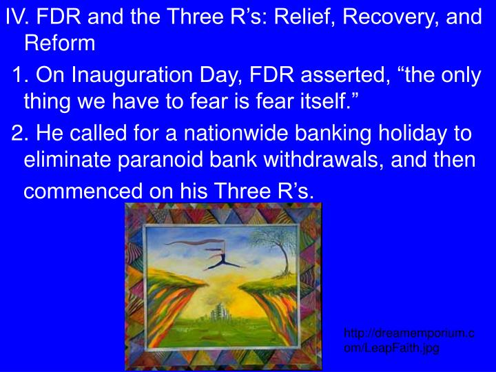 IV. FDR and the Three R's: Relief, Recovery, and Reform