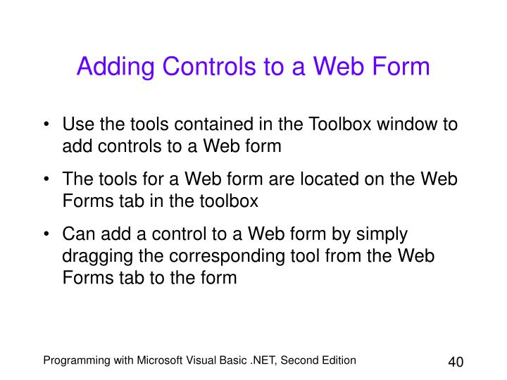 Adding Controls to a Web Form