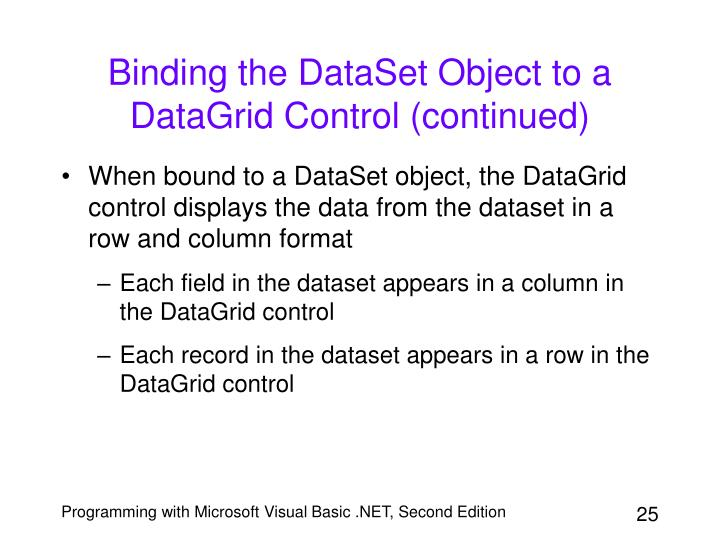 Binding the DataSet Object to a DataGrid Control (continued)