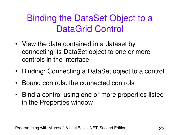 Binding the DataSet Object to a DataGrid Control