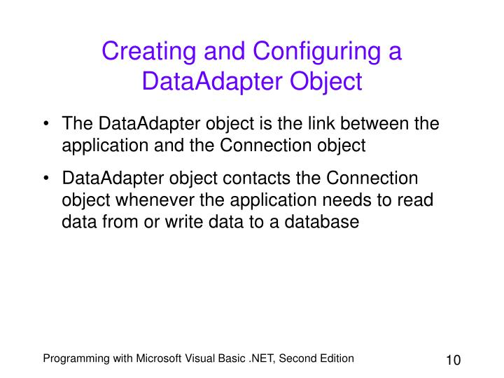 Creating and Configuring a DataAdapter Object