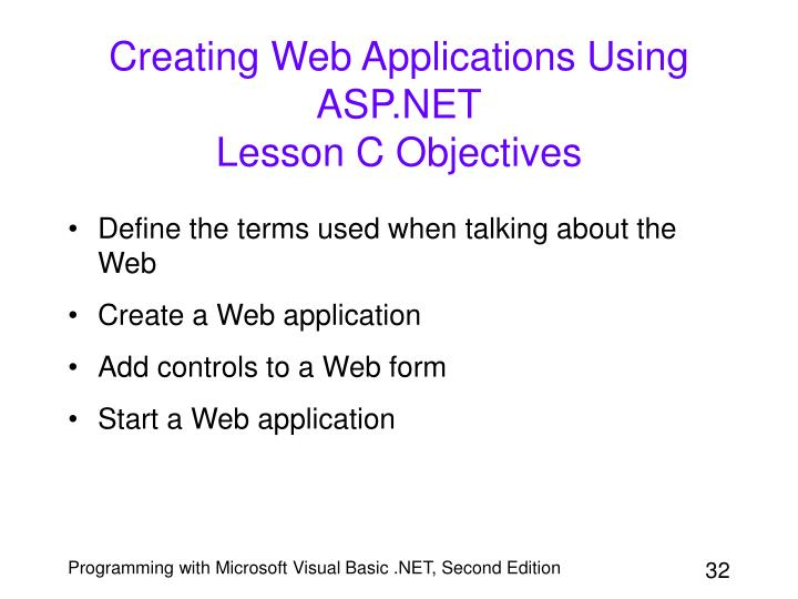 Creating Web Applications Using ASP.NET