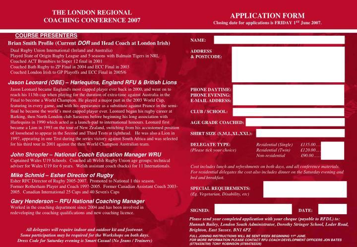THE LONDON REGIONAL