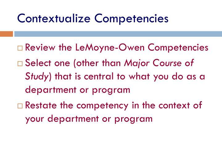 Contextualize Competencies