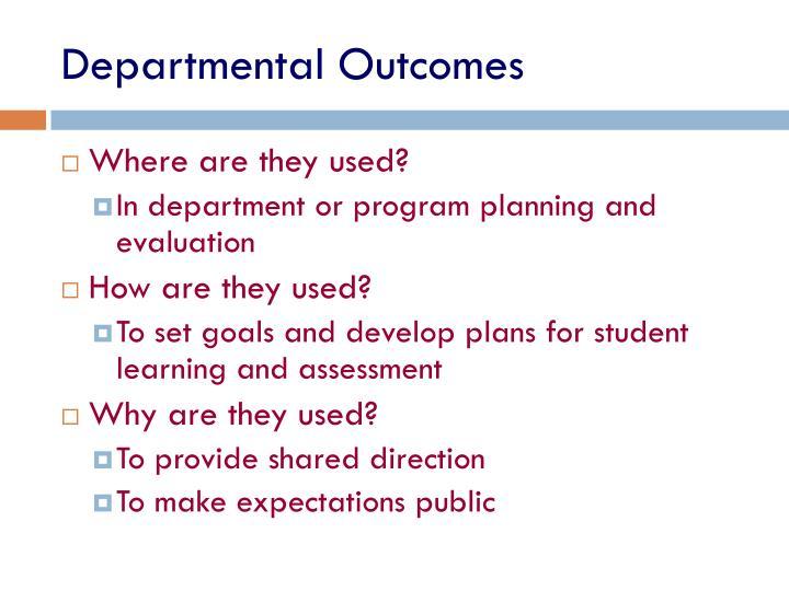 Departmental Outcomes