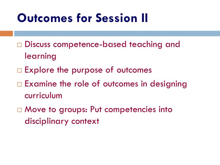 Outcomes for Session II