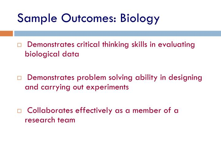 Sample Outcomes: Biology