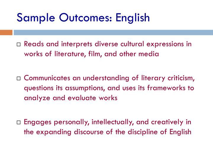 Sample Outcomes: English