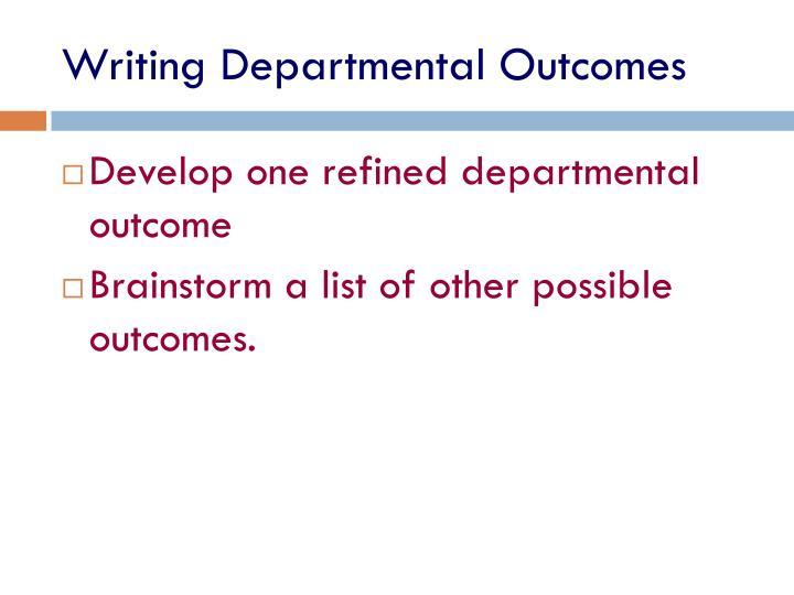 Writing Departmental Outcomes