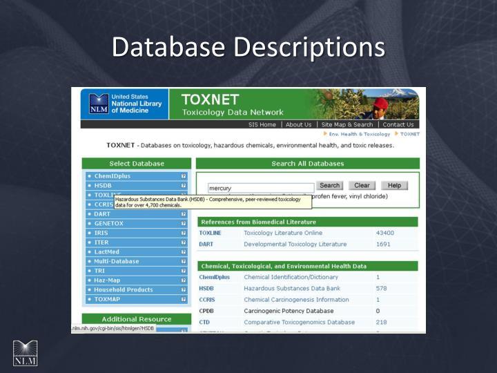 Database Descriptions