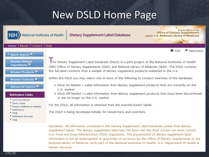 New DSLD Home Page