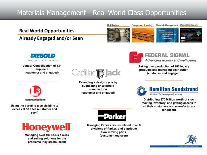 Materials Management - Real World Class Opportunities