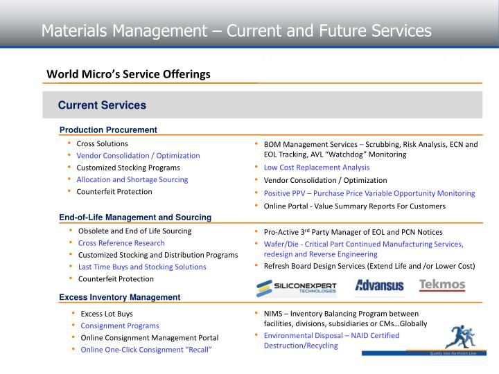 Materials Management – Current and Future Services
