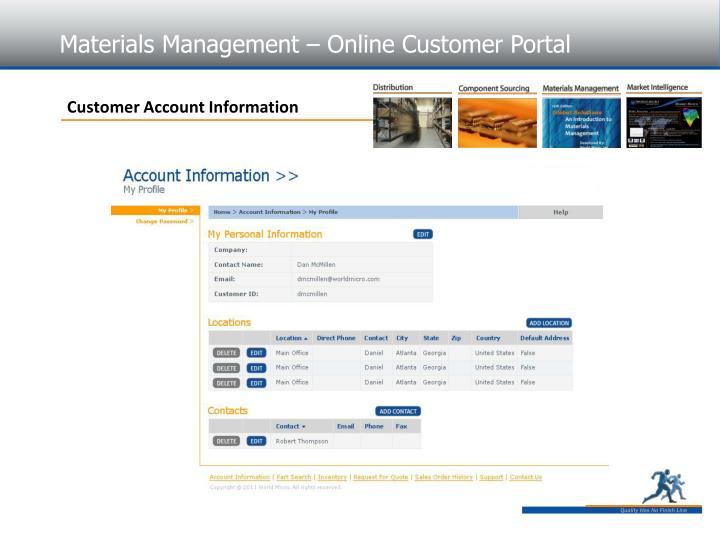 Materials Management – Online Customer Portal
