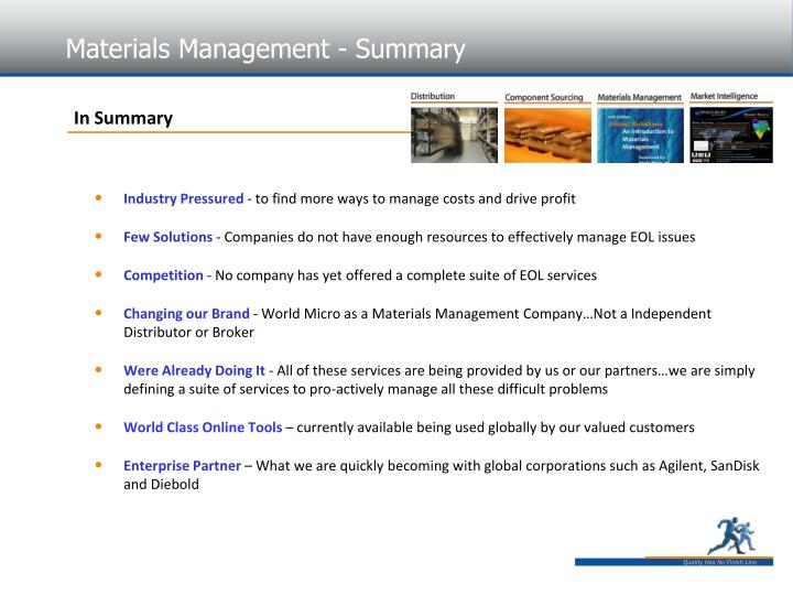 Materials Management - Summary