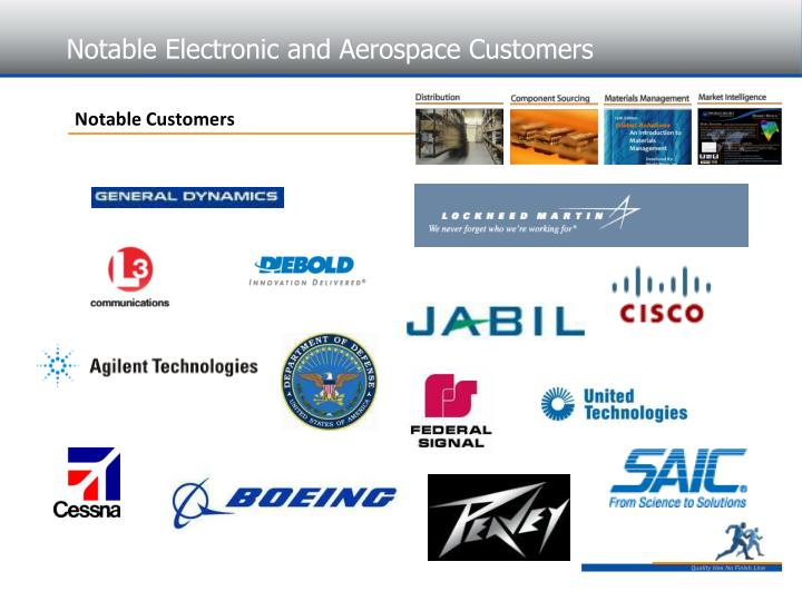 Notable Electronic and Aerospace Customers