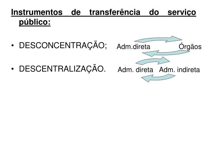 Instrumentos de transferência do serviço público: