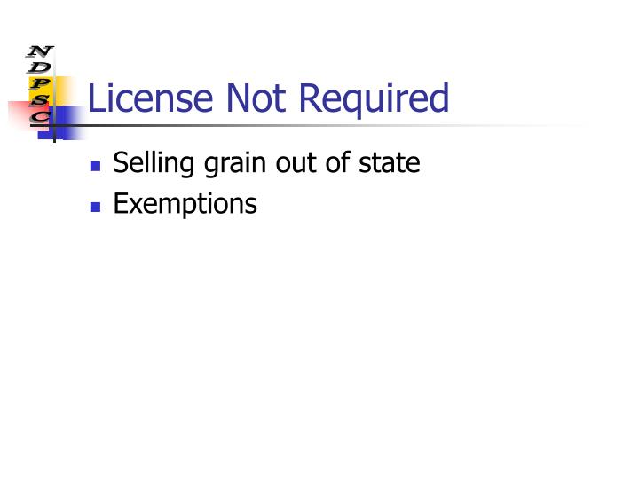License Not Required