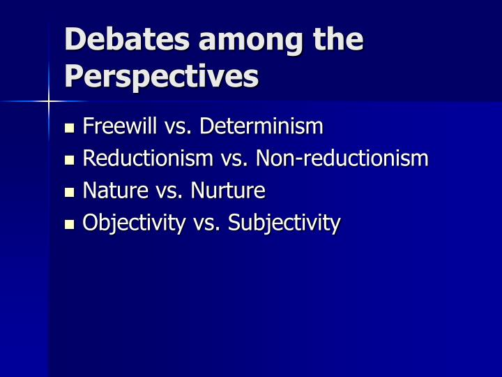 Debates among the Perspectives